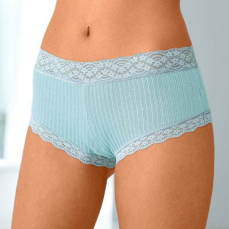 Kalhotky shorty z bavlny a krajky, sada