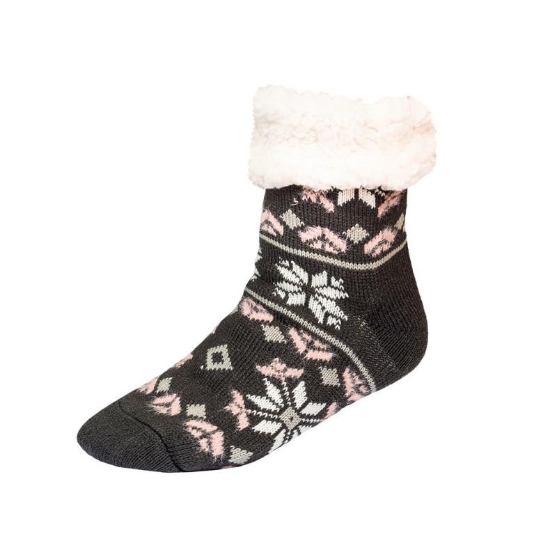 Ponožky zimní, šedá, růžová