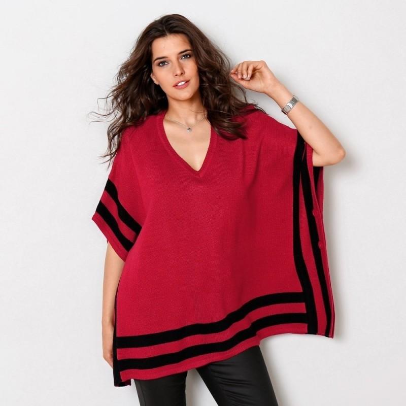 Pončo pulover s grafickými pruhmi