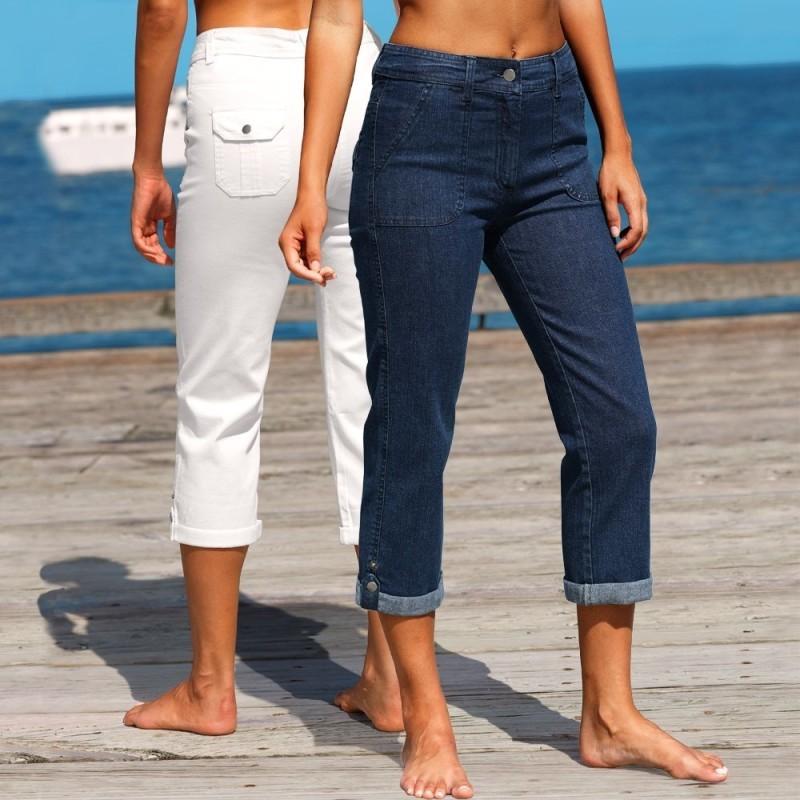 Džínové 3/4 kalhoty s ohrnutím, sada 2 ks