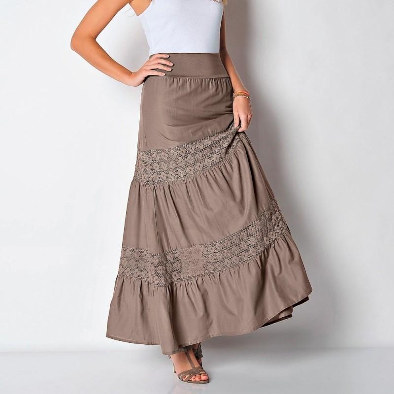 Sukňa s krajkovými vsadkami