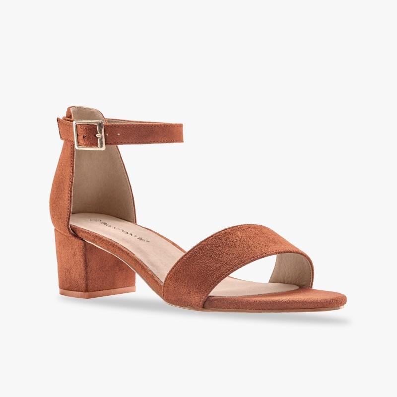 Sandále na širokom podpätku, karamelové