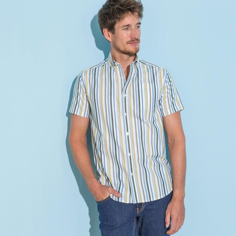 Pruhovaná košile, rovný střih, krátké ru