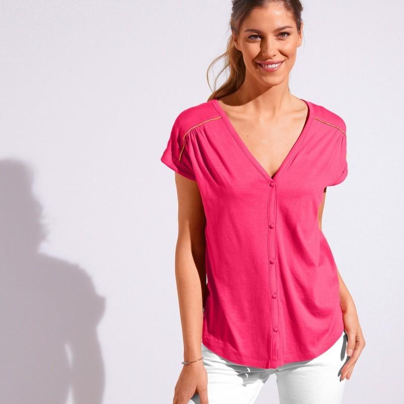 Jednobarevné tričko s knoflíky