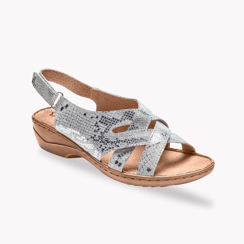 Kožené sandály, stříbrné