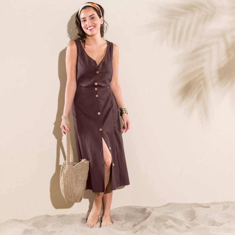Jednofarebná sukňa s gombíkmi