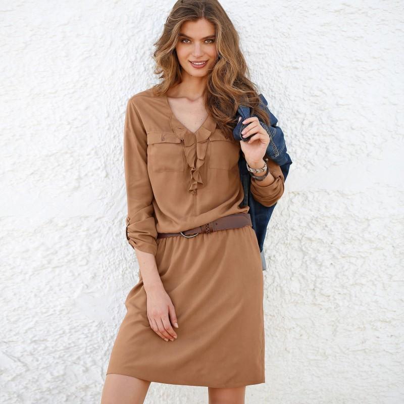 Šaty jednobarevné, volán