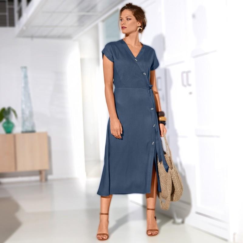 Šaty s prekrížením, jednofarebné