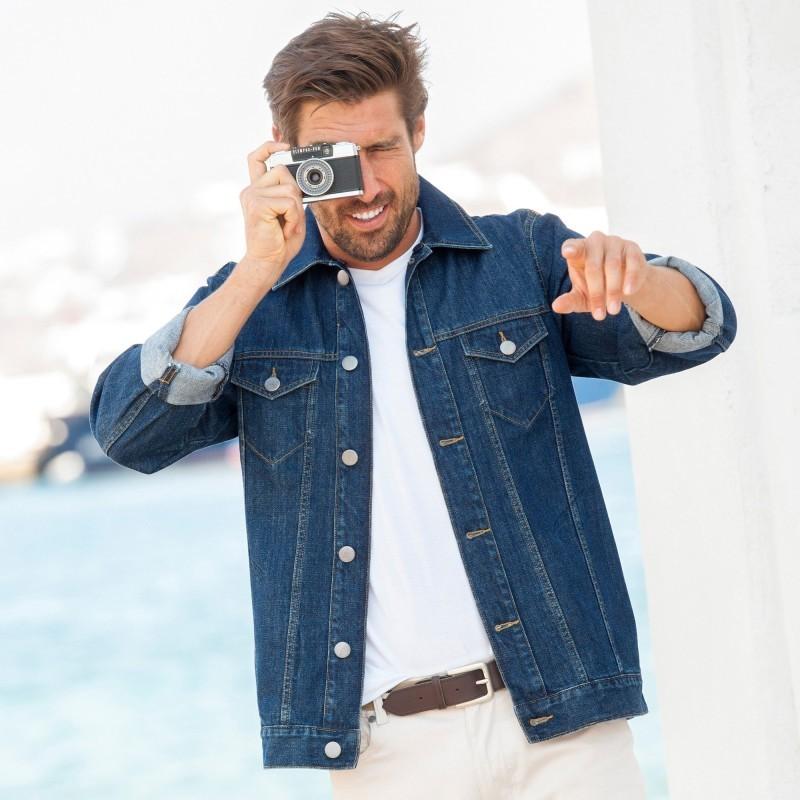 Džínsová bunda s odnímateľným golierom z