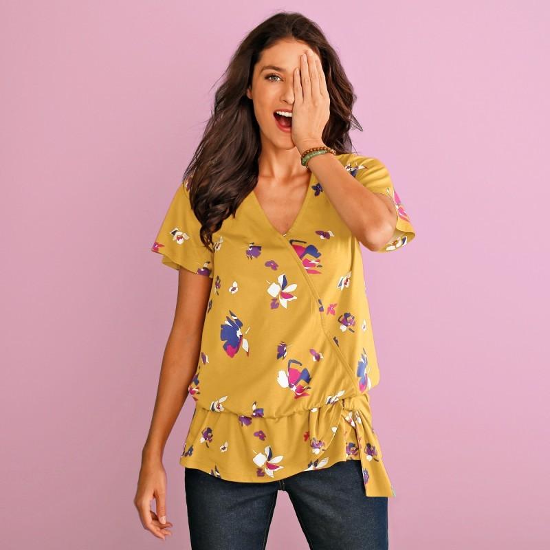 Tričko s prekrížením a kvetinovou potlačou