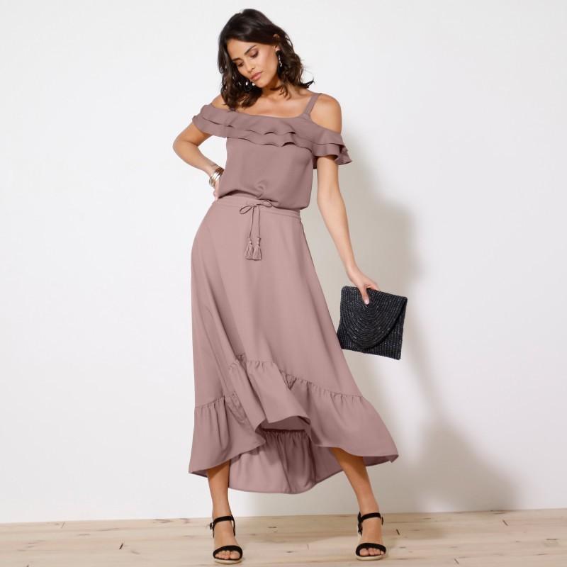 Volánová asymetrická dlouhá sukně, jedno