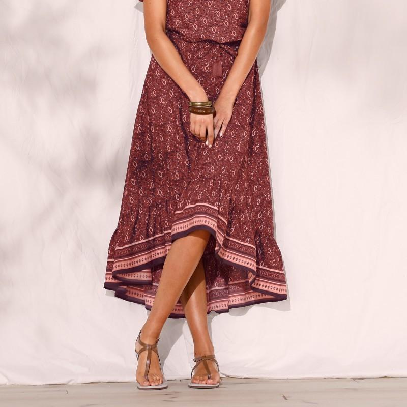 Volánová asymetrická dlouhá sukně, s pot