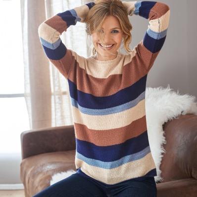 Pruhovaný pulovr mohérový na dotek