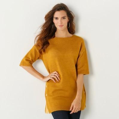 Pončo pulovr na knoflíky