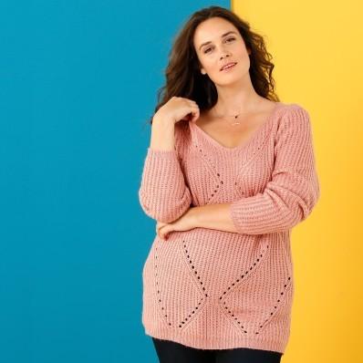 Jemný ažurový pulovr