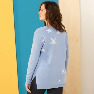 Pulovr s kulatým výstřihem a hvězdičkami