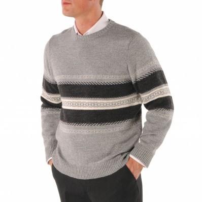 Prúžkovaný žakárový sveter