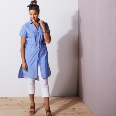 Dlouhá košile chambray s krátkými rukávy