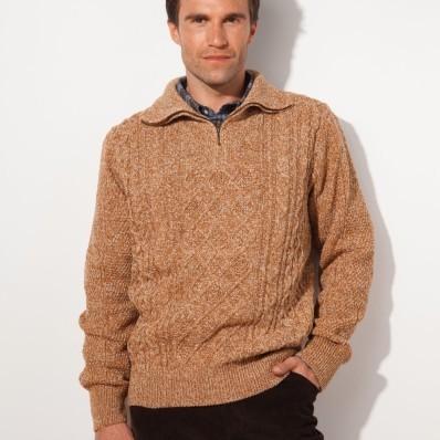Irský pulovr se stojáčkem na zip