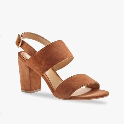 Sandály na podpatku, kožená useň